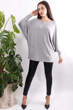 Diamanté Two Pocket Knit Grey