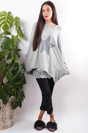 Dip Back Star Sweat Dove