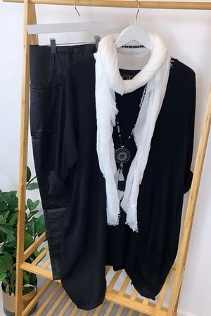 Dip Side Cocoon Tunic Black
