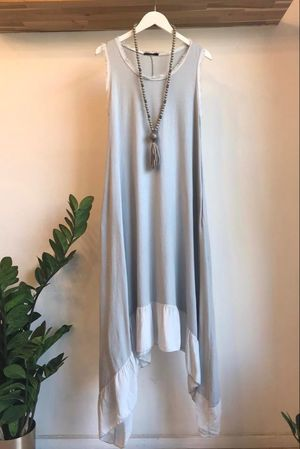 Dip Side Midi Sun Dress Dove