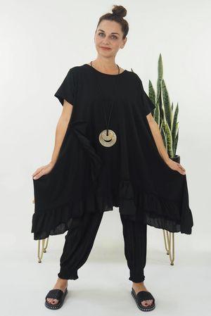 Dip Side Ruffle T Shirt Dress Black