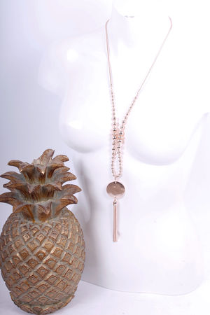 Disk & Tassel Long Necklace Rose