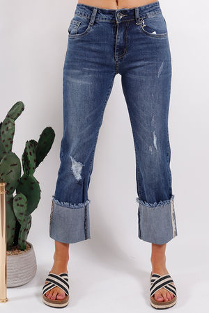 Distressed Snake Turn Up Jeans