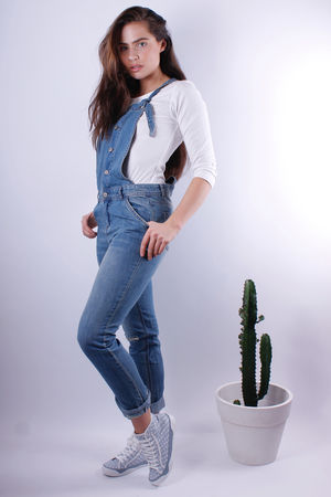 Distressed Washed Denim Dungarees
