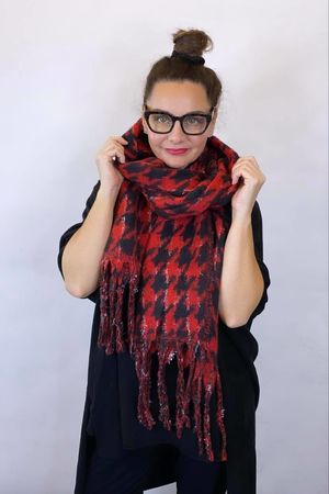 Dogtooth Super Soft Scarf Black And Ruby