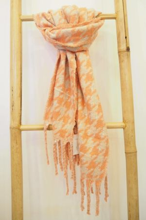 Dogtooth Super Soft Scarf Neon And Ecru