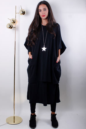 Double Layer Cocoon Dress Black