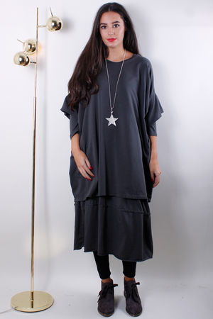 Double Layer Cocoon Dress Grey