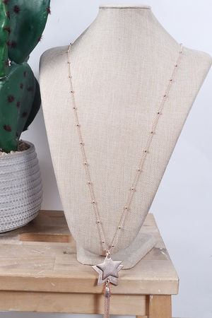 Double Star & Tassel Necklace Rose