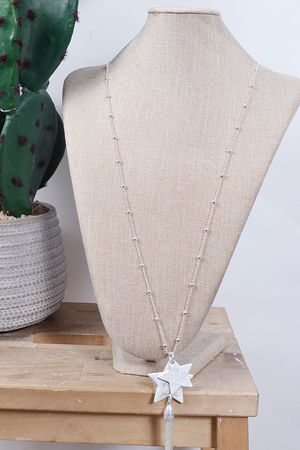 Double Star & Tassel Necklace Silver