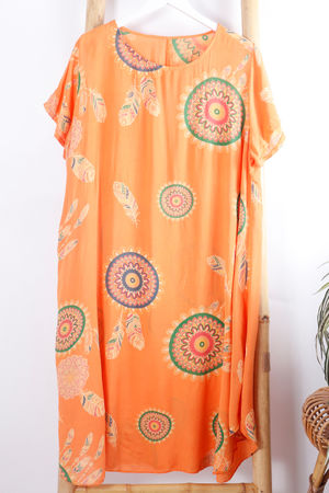 Dreamcatcher Cap Sleeve Swing Dress Tangerine