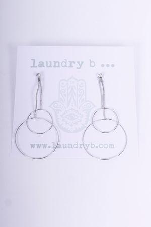 Drop Circle Earrings Silver