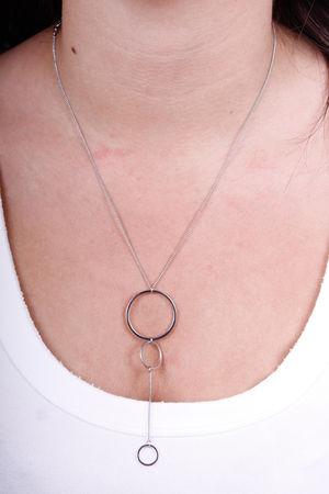 Drop Circle Necklace Silver