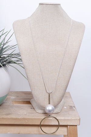 Drop Hoop & Ball Necklace Gold
