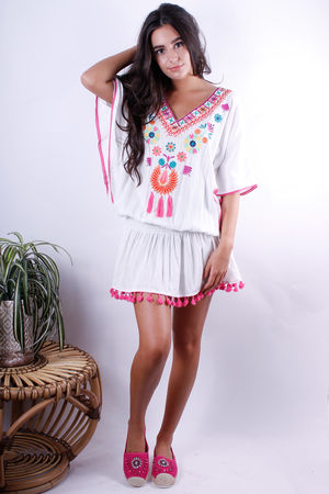 Drop Waist Kaftan Top Tassel Detail White