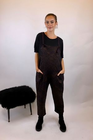 Made In Italy Mama Mia Dungarees Aubergine Leopard