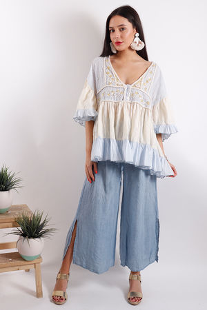 Eivissa Embroidered Boho Top