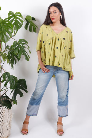 Eivissa Floral Embroidered Top Lime
