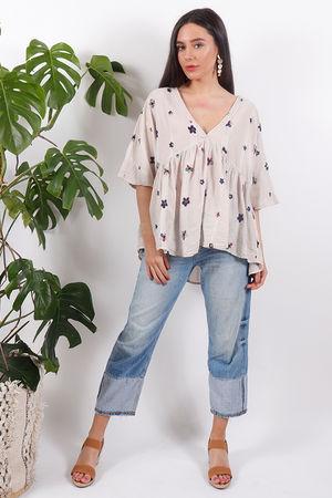 Eivissa Floral Embroidered Top Nude