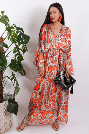 Eivissa Snake Dress Coral