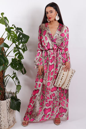 Eivissa Snake Dress Pink