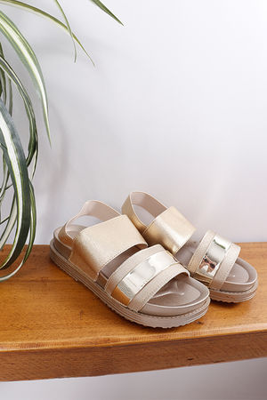 Elasticated Sandals Gold