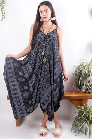 Elephant Handkerchief Dress Black