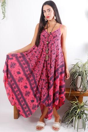 Elephant Handkerchief Dress Fuchsia