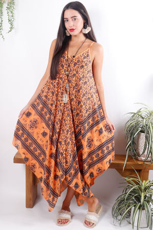 Elephant Handkerchief Dress Tangerine