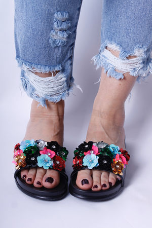 Embellished 3D Floral Sliders