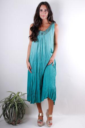 Embellished Crinkle Midi Dress Greenery