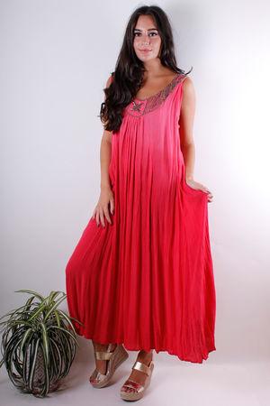 Embellished Crinkle Midi Dress Sun Rise