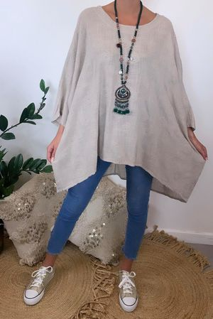 Embroidered Archie Batwing Top Nude
