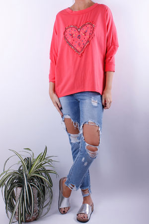 Embroidered Heart Top Coral