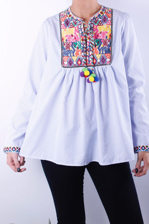 Embroidered Pom Pom Peasant Blouse Blue Stripe