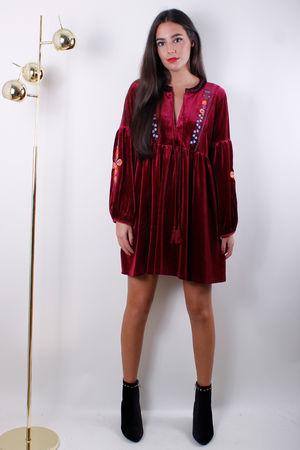 Embroidered Velvet Tunic Dress Wine