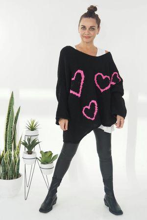 Empty Hearts Knit Black