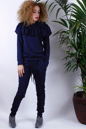 Enzo Navy Frill Loungesuit