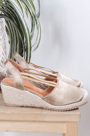Espadrille Wedge Dull Gold