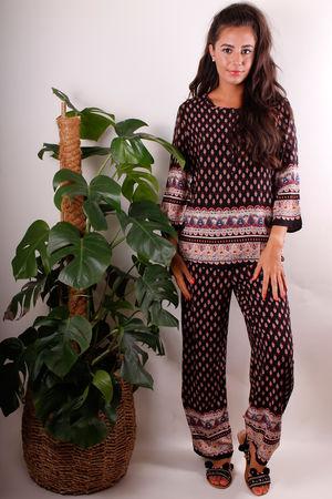 Ethnic Print PJ Suit in Black & Deep Sun