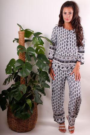 Ethnic Print PJ Suit in Monochrome
