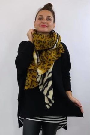 Faded Leopard To Zebra Scarf Dijon