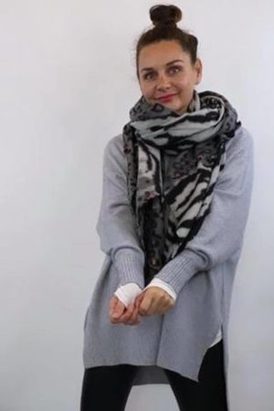 Faded Leopard To Zebra Scarf Grey