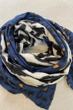 Faded Leopard To Zebra Scarf Navy