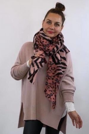 Faded Leopard To Zebra Scarf Pink