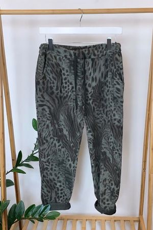 Faded Mixed Animal Jogger Grey Taupe