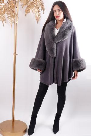 Faux Fur Cape Grey