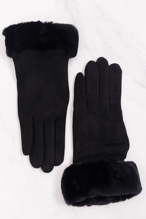 Faux Fur Cuff Gloves Black