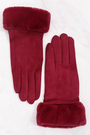 Faux Fur Cuff Gloves Magenta