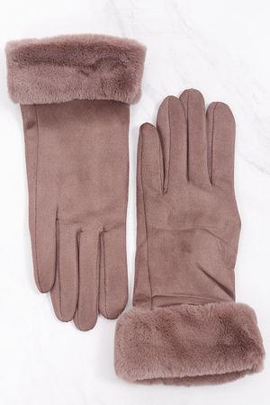Faux Fur Cuff Gloves Taupe